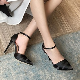 Ericdress Pointed Toe Stiletto Heel Buckle Pumps