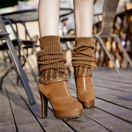 Ericdress Stiletto Heel Round Toe Front Zipper Ankle Boots