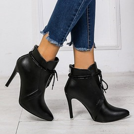 Ericdress Lace-Up Back Stiletto Heel Plain Ankle Boots