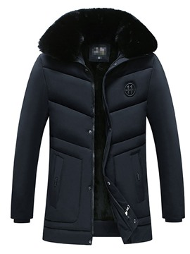 Ericdress Hooded Patchwork Plain Color Zipper Casual Men's Down Jacket
