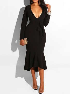 Ericdress V-Neck Mid-Calf Asymmetric Regular Pullover Dress