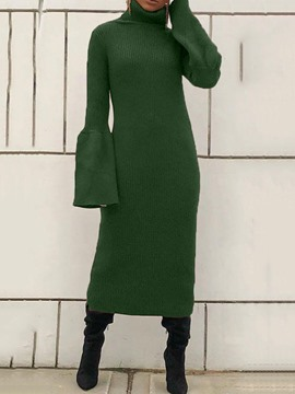 Ericdress Mid-Calf Turtleneck Long Sleeve Winter Bodycon Dress