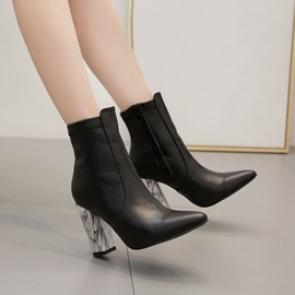 Ericdress Side Zipper Plain Pointed Toe Ankle Boots