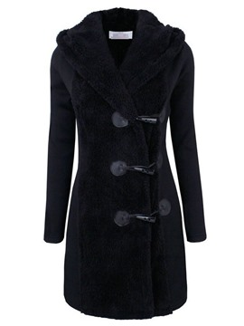 Ericdress Button Single-Breasted Slim Women's Hooded Overcoat