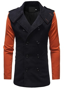 Ericdress Color Block Button Lapel European Double-Breasted Men's Coat