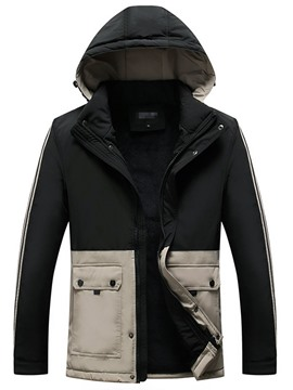 Ericdress Color Block Mid-Length Patchwork Casual Zipper Men's Down Jacket