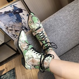 Ericdress Snake Skin Lace-Up Front Pointed Toe Ankle Boots