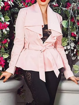 ericdress trench-coat femme lace-up fashion slim