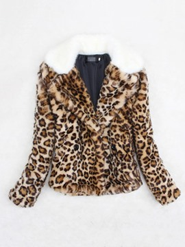 Ericdress Standard Leopard Slim Thick Women's Faux Fur Overcoat