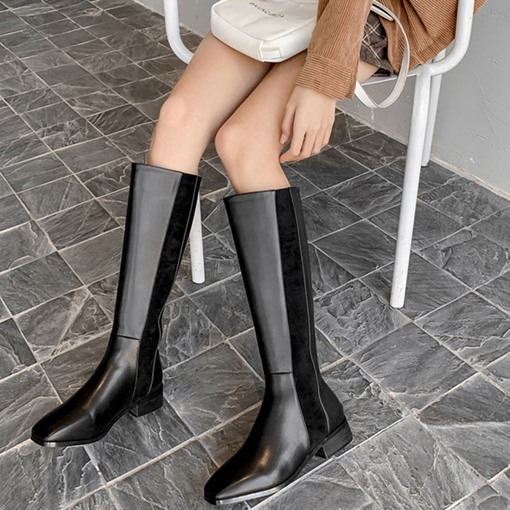Ericdress Square Toe Block Heel Back Zip Knee High Boots