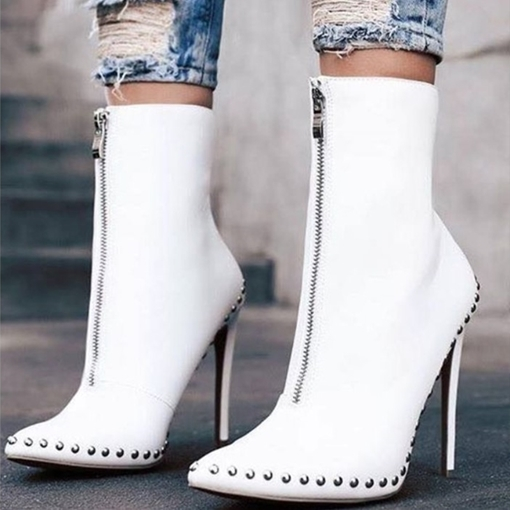 Ericdress Rivet Pointed Toe Stiletto Heel Women's Ankle Boots