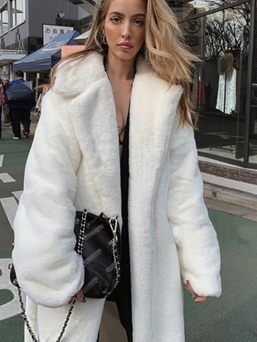Ericdress Plain Regular Long Thick Loose Women's Faux Fur Overcoat