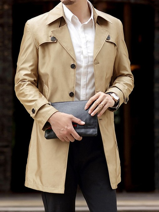Ericdress Mid-Length Button Lapel Casual Men's Trench Coat