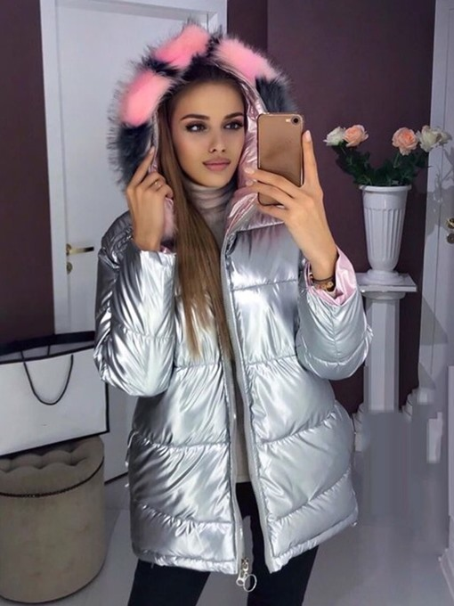 Ericdress Loose Zipper Bright Color Mid-Length Women's Cotton Padded Jacket