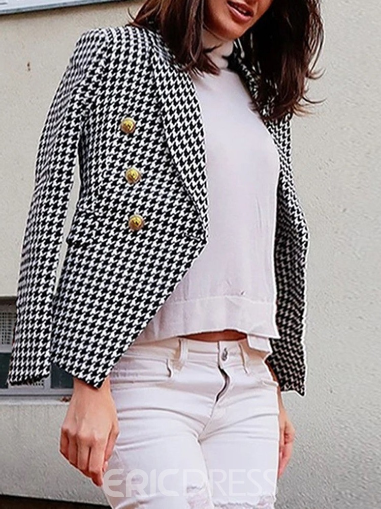 Ericdress Houndstooth Blazer Womens Double-Breasted Plain Regular Standard Women's Casual Blazer