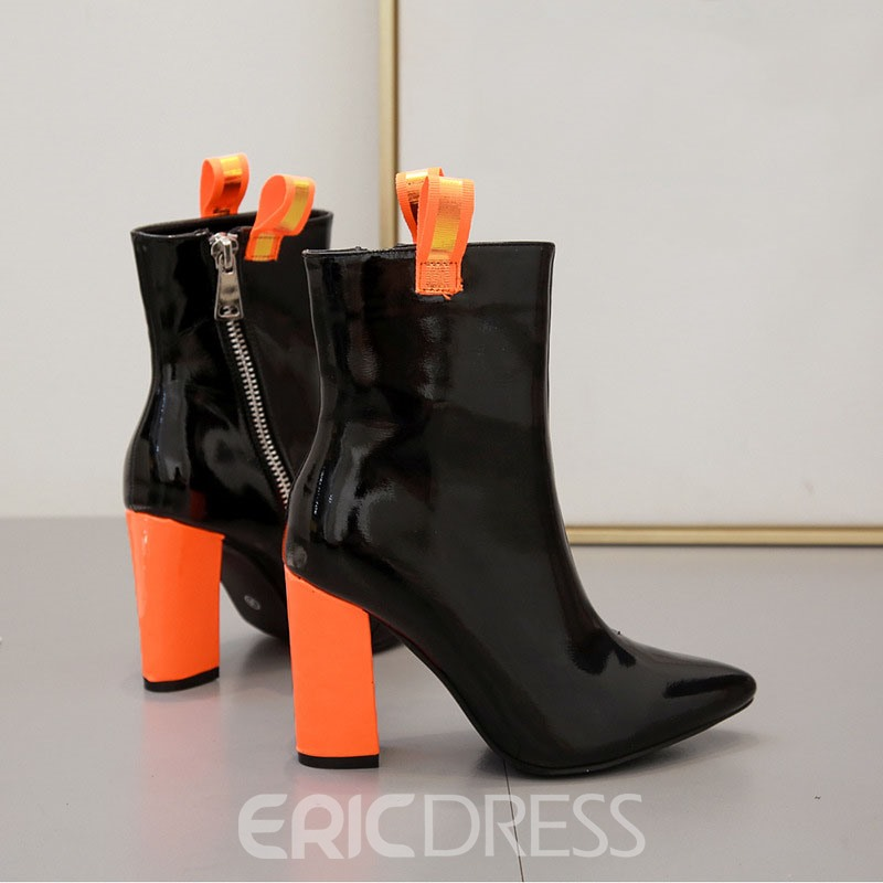 Ericdress Chunky Heel Pointed Toe Patchwork Ankle Boots
