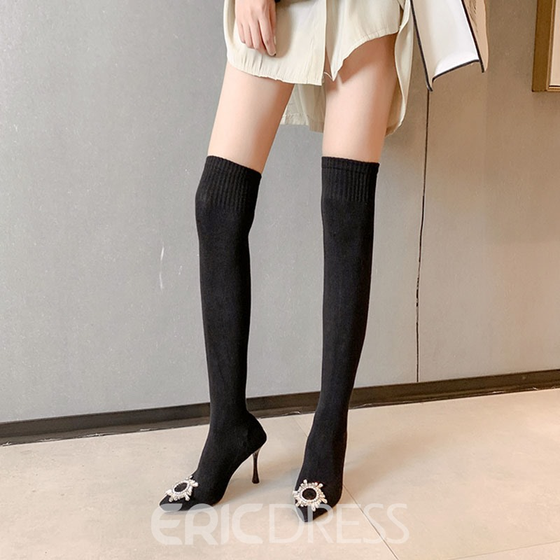 Ericdress Stiletto Heel Plain Slip-On Thigh High Boots