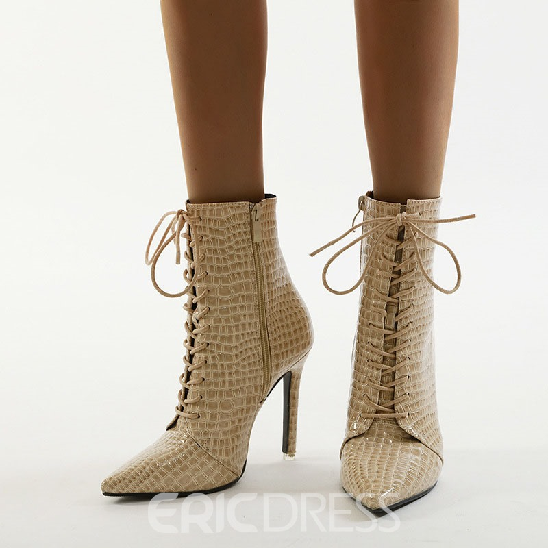 Ericdress Stiletto Heel Plain Pointed Toe Ankle Boots