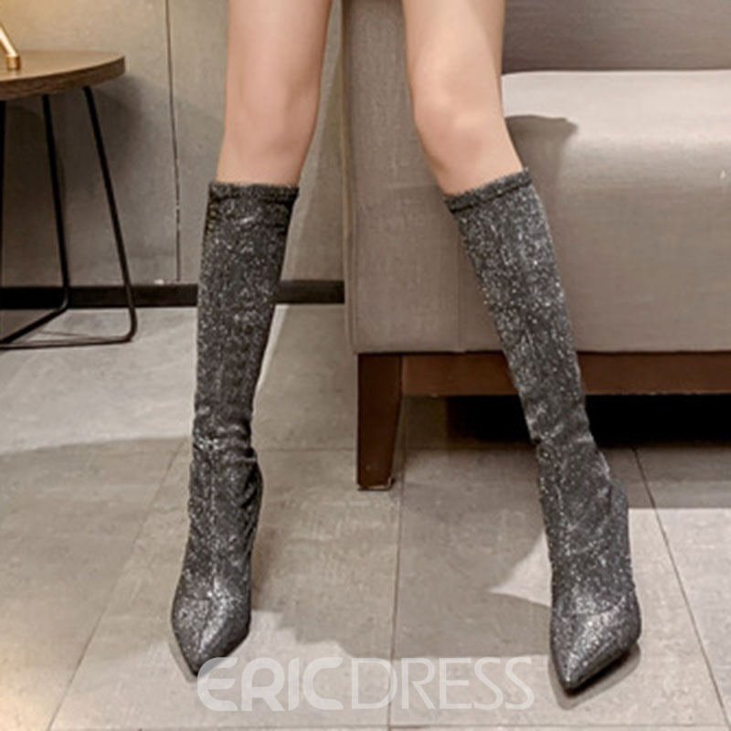 Ericdress Slip-On Pointed Toe Glitter Knee High Boots