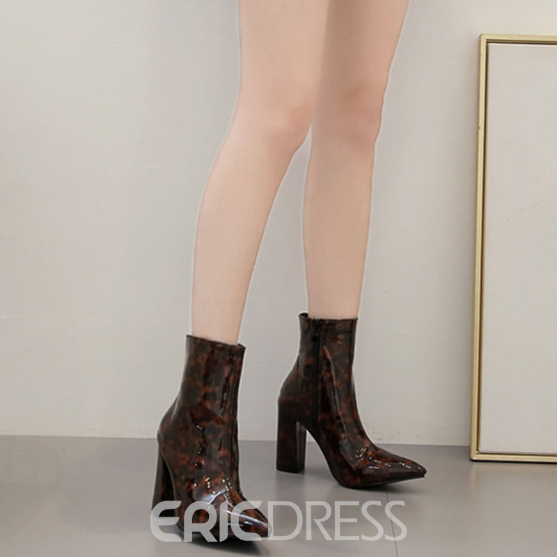 Ericdress Chunky Heel Pointed Toe Color Block Ankle Boots