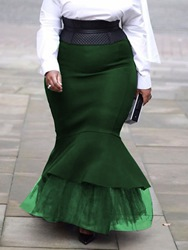 Ericdress Plus Size Patchwork Floor-Length Mermaid Casual Skirt