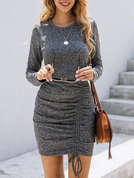 Ericdress Round Neck Above Knee Long Sleeve Pullover Mid Waist Dress