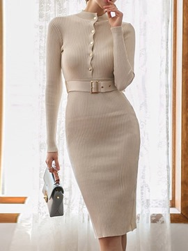 Ericdress Belt Mid-Calf Stand Collar Regular Pullover Dress