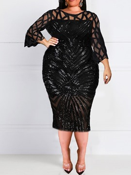 Ericdress Plus Size Three-Quarter Sleeve Mid-Calf Round Neck Spring Party/Cocktail Dress