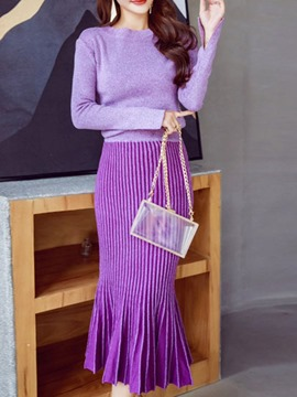 Ericdress Elegant Plain Pullover Pleated Round Neck Two Piece Sets