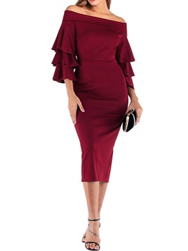 Ericdress Three-Quarter Sleeve Mid-Calf Off Shoulder Mid Waist Fall Dress