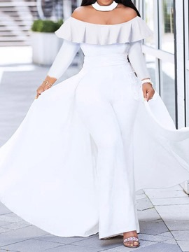 Ericdress Plain Falbala Off Shoulder Bellbottoms Jumpsuit