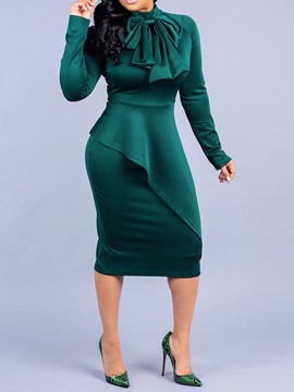 Ericdress Mid-Calf Bowknot Long Sleeve Mid Waist Plain Dress