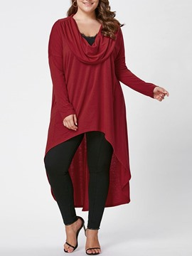 Ericdress Plus Size Long Sleeve Plain Long Casual Women's T-Shirt