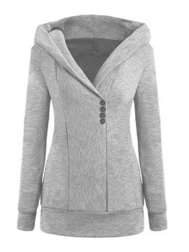Ericdress Plain Button Long Sleeve Mid-Length Women's Hoodie