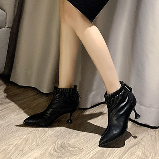 Ericdress Stiletto Heel Plain Pointed Toe PU Fashion Boots