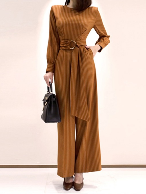 Ericdress Lace-Up Casual Full Length Straight Slim Jumpsuit