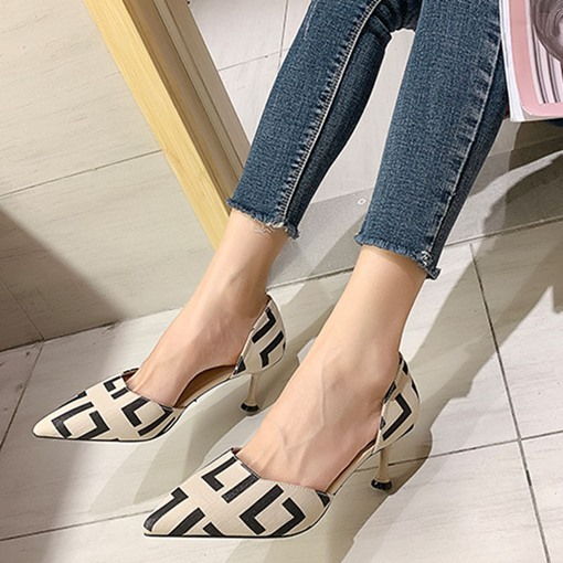 Ericdress Pointed Toe Slip-On Thread Stiletto Heel Sandals