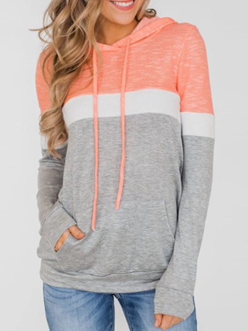 Ericdress Regular Color Block Long Sleeve Mid-Length Women's Hoodie