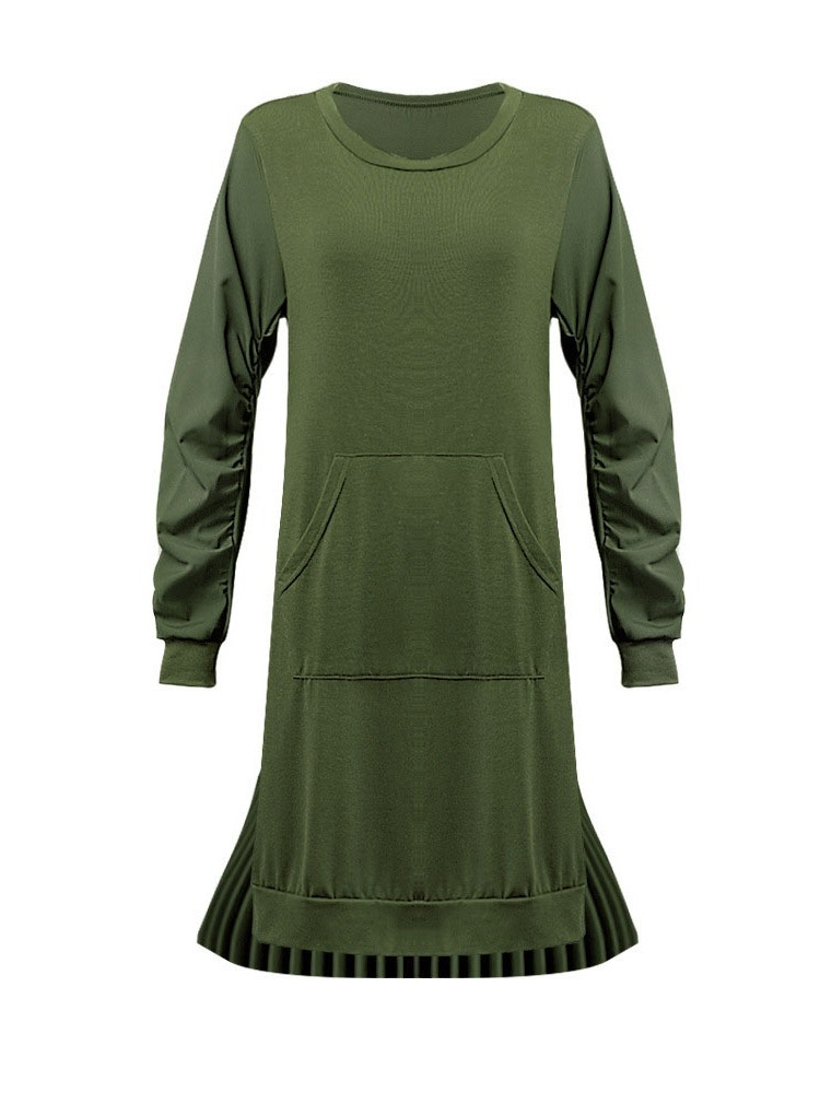 Ericdress Asymmetric Long Sleeve Round Neck Regular Plain Dress