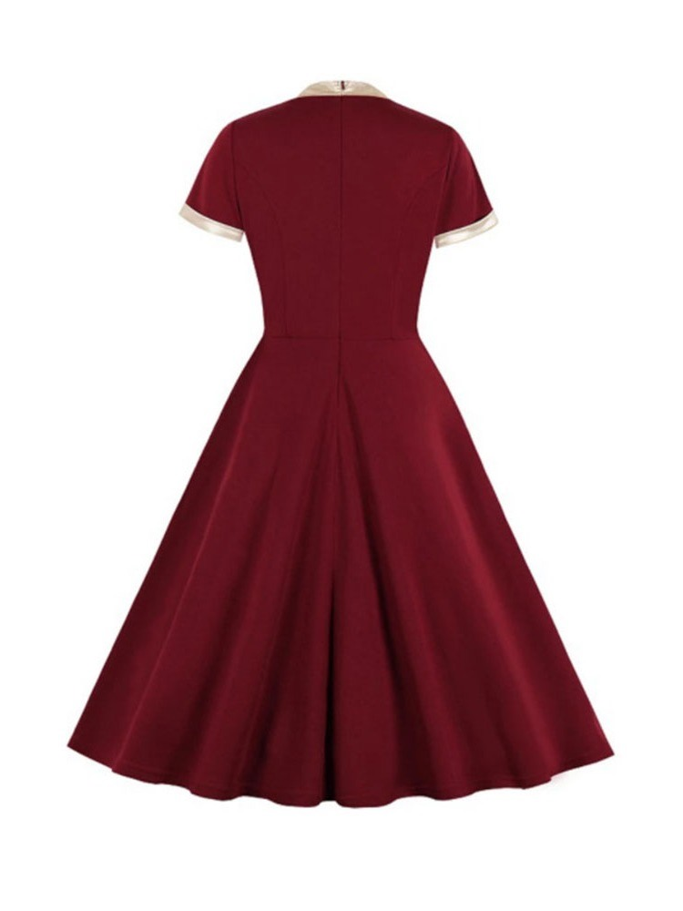 Ericdress Pleated Mid-Calf Bow Collar Pleated Pullover Dress