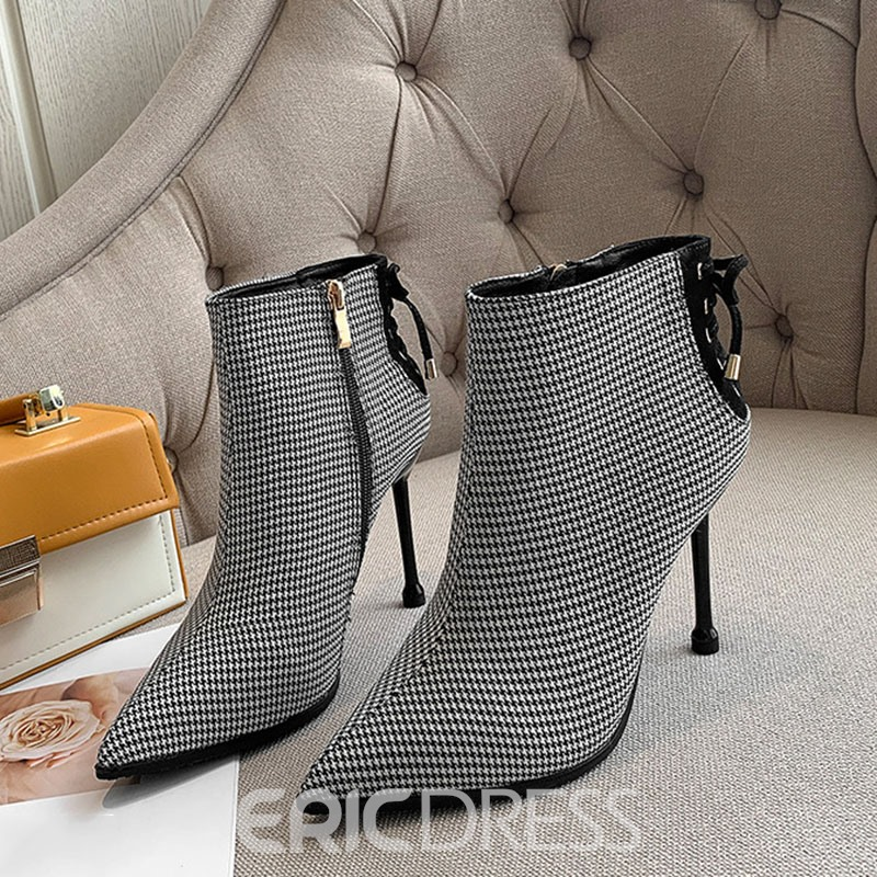 Ericdress Lace-Up Back Pointed Toe Stiletto Heel Zipper Ankle Boots