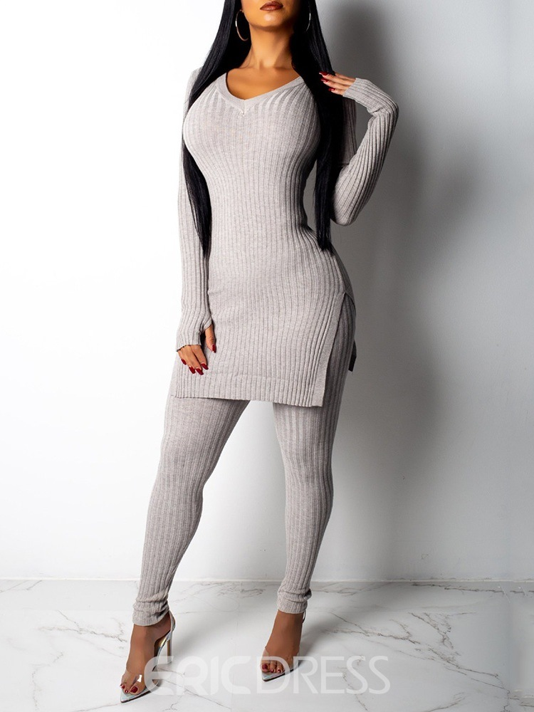 Ericdress Plain Casual Sweater Round Neck Two Piece Sets