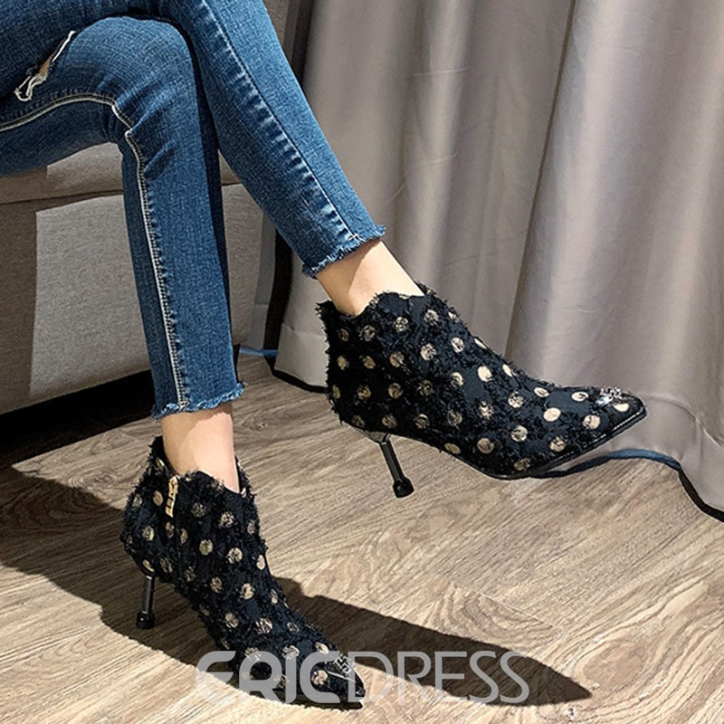 Ericdress Stiletto Heel Pointed Toe Side Zipper PU Casual Boots