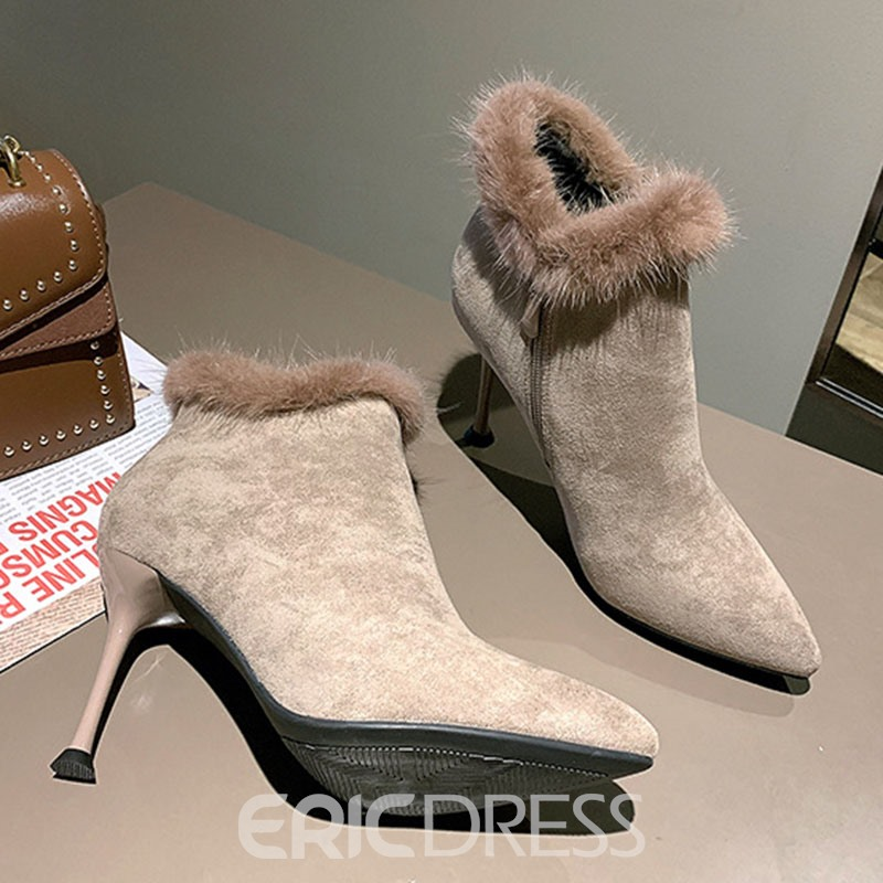 Ericdress Stiletto Heel Pointed Toe Side Zipper Ankle Boots