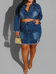 Ericdress Plus Size Pocket Mandarin Collar Single-Breasted Two Piece Sets фото