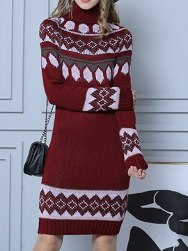Ericdress Long Sleeve Turtleneck Knee-Length Date Night/Going Out Geometric Dress