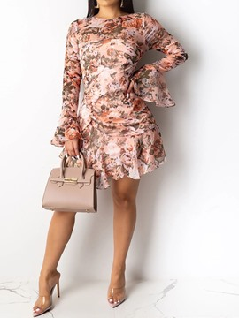 Ericdress Print Round Neck Long Sleeve Casual Fall Dress