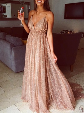 Ericdress Spaghetti Straps Sequins A-Line Evening Dress 2020