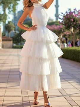 Ericdress Tiered Sleeveless Ball Gown High Neck Hall Wedding Dress 2020