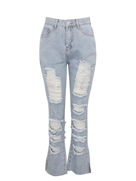Ericdress Hole Slim Worn Jeans